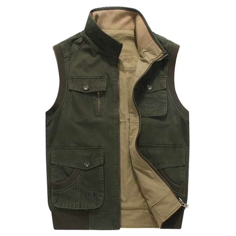 Günlük Düzenli Katı Gevşek Pamuk Çoklu Cep Ters yelek erkekler Moda Giyim Artı boyutu M - 8XL