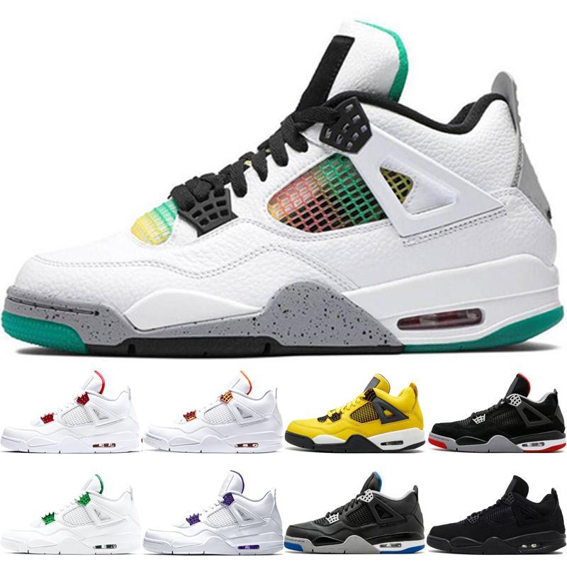 2020 Rasta moda Saf Para Kara Kedi Karnaval erkek spor ayakkabısı Mor FIBA Turuncu Metalik Spor ayakkabı Kont 4 4s basketbol ayakkabıları Bred