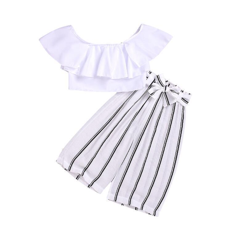 2019 ropa de verano niños niñas Trajes de diseñador de la niña de traje remata la camiseta de la raya de los pantalones 2pcs de la ropa de diseño determinado del bebé niña BY1475