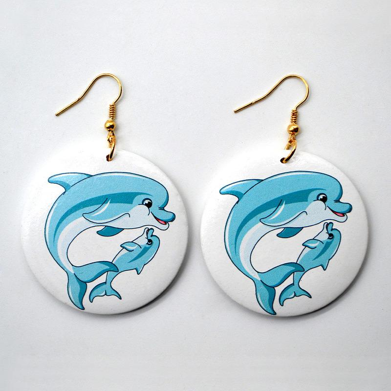 Statement Fashion Round Wood Earrings Chic Trend 3D Print Dolphin Pattern Dangle Earrings for Women Simple Wild Party Jewelry Drop Shipping