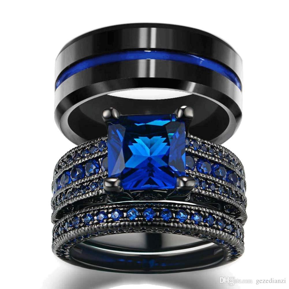 Joyas pareja - 8 mm de ancho Hombres 14K línea azul de la raya de carburo de tungsteno anillo de las mujeres Negro Gold Filled banda anillo de bodas de zafiro natural