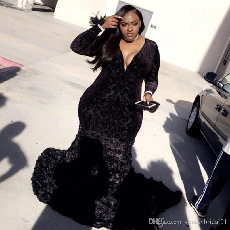Plus Size African Black Girls Mermaid Prom Dresses 2019 Black Lace Long Sleeves Handmade Flowers Evening Party Gowns