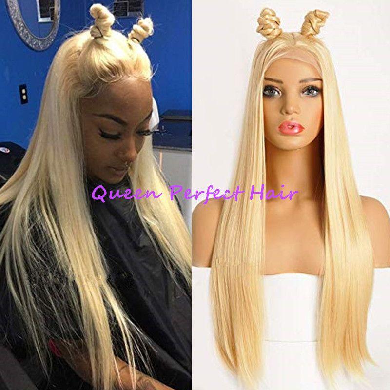 613 cabelo loiro claro parte dianteira do laço perucas sintéticas longa e sedosa reta cabelo resistente ao calor pré arrancado bebê cabelo moda feminina (