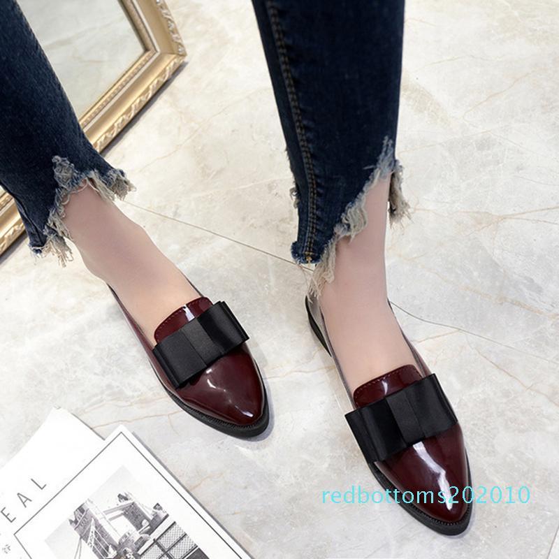 SHOEMER verano Pisos mujeres zapatos de cuero de patente de Bowtie Mocasines con tacones bajos elegantes Resbalón Calzado de mujeres en punta del dedo del pie del talón grueso r10