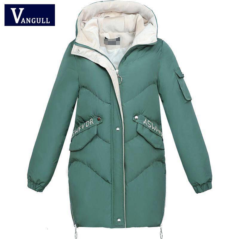 Vangull 2019 зимы женщин с капюшоном Теплое пальто Плюс Размер Зеленый хлопка ватник Женщины Длинные Parka женщин Wadded Jaqueta Feminina CJ191214
