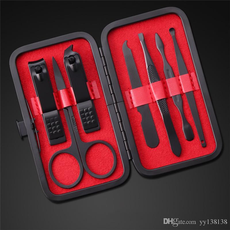 7pcs / set New manucure Clippers pédicure Kit Hygiène Voyage Portable Cutter en acier inoxydable Jeu d'outils de gros support