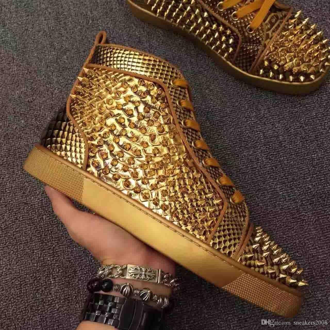 2019 Unisex Größe Gold-Spikes-Schuhe Herren-Python-Leder-beiläufige Schuh-Luxus-rote Unterseite Mode Turnschuhe Nieten männlicher Freizeit-Schuh-Größe 35-47