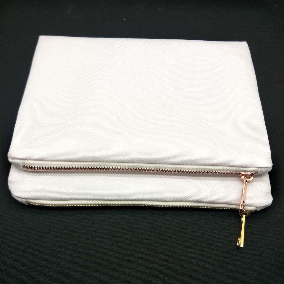 30pcs / lot 7x10in blank 12oz spessore 100% poliestere sacchetto di tela con zip in metallo oro rosa per sublimazione stampa pressa di calore sacchetto cosmetico in bianco