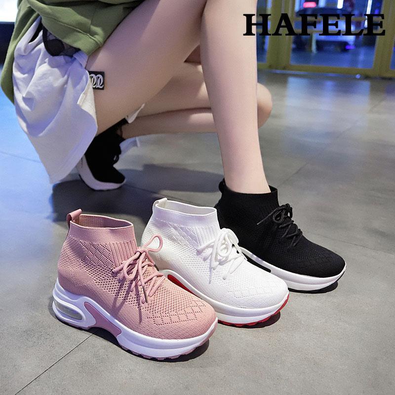 2019 NEUE Frauen-Walking-Schuhe Art und Weise im Freien Breathable Turnschuhe Luftkissen Thick Boden Frenulu Beiläufiges Athletisch Leicht