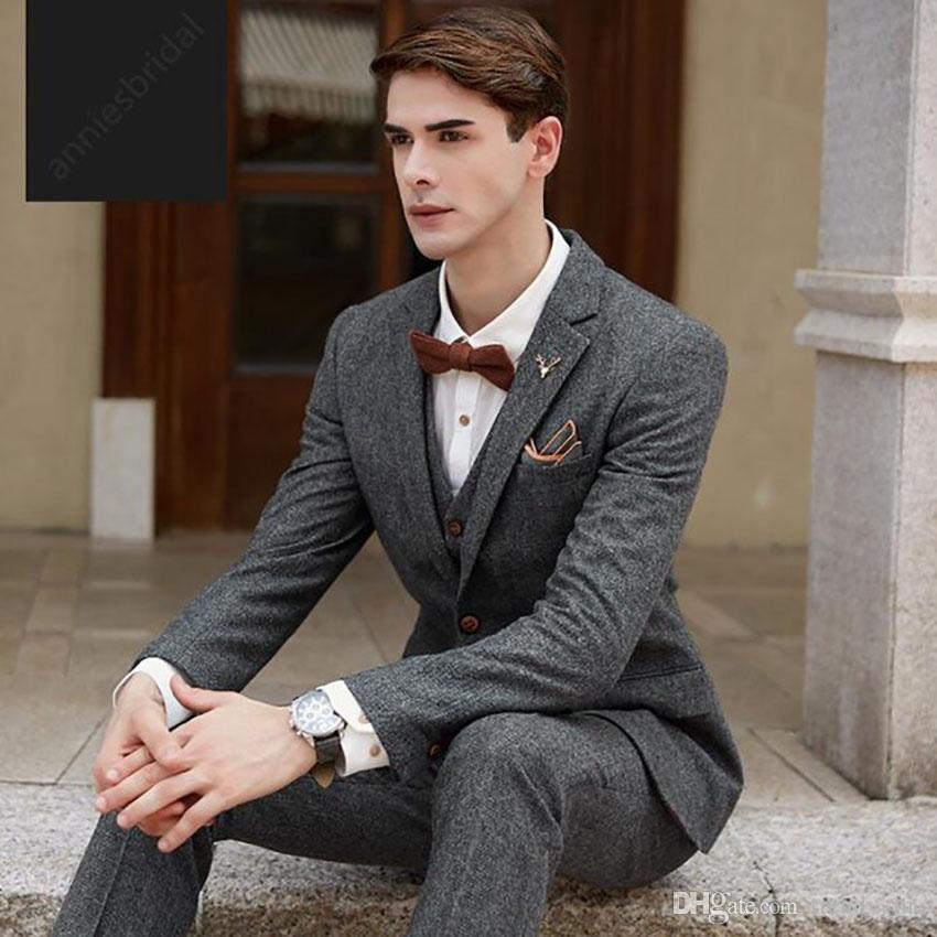 Latest Coat Pant Designs Grey Tweed Suits Men Groom Tuxedo Slim Fit Formal Wedding Party Prom Blazer Costume Homme Marriage