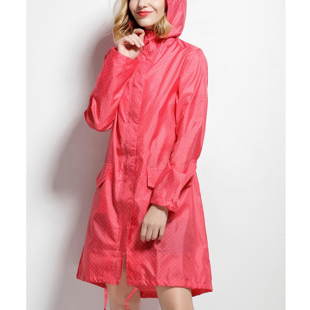 Women's Raincoat Rainy Day Dot Shape Rain Jacket Outdoor Waterproof Windproof Coat Outwear Female Casual Travel Rainwear