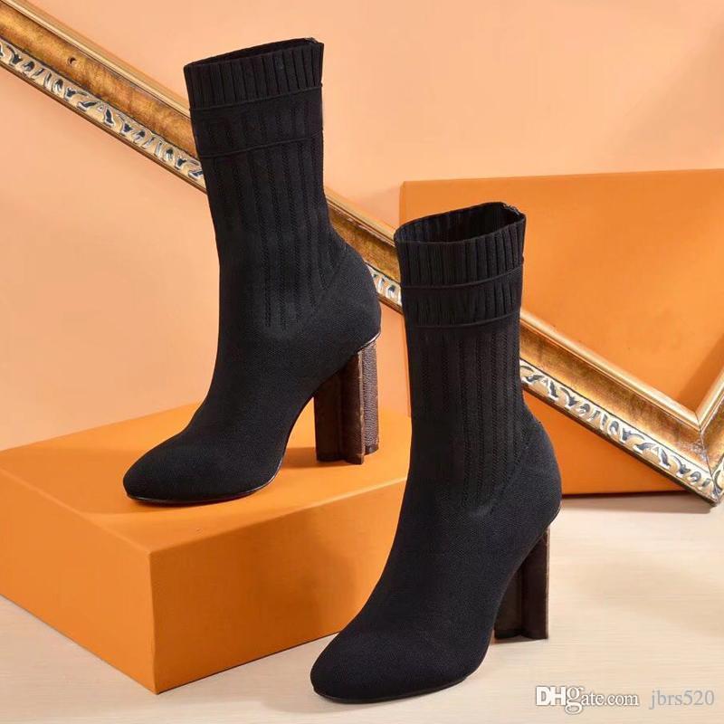 {Logo Original} 2019 sexy marca nos sapatos sapatos femininos em malha elástica botas Designer curtas botas meias botas de tamanho grande salto alto