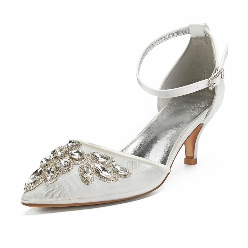 OnnPnnQ Kitten Heels Crystals Свадебной обуви Женщина острого нос лодыжка ремень Низкие каблуки сетка сатиной Формальная партия Дама платье насосы