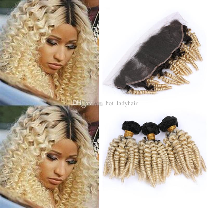 Dark Roots Blonde Brazilian Funmi Curly Human Hair Bundles with Frontal Lace Closure #1B/613 Ombre Spiral Curls Virgin Hair Weave Frontals