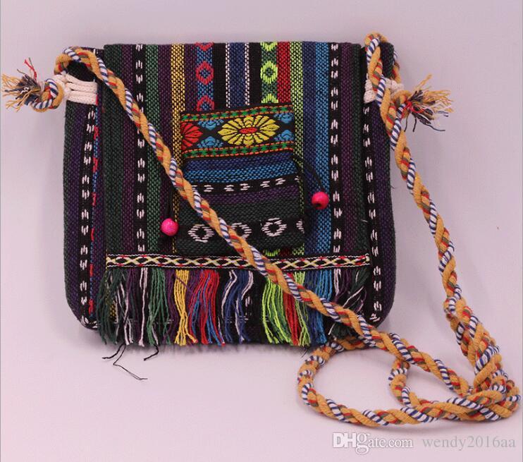 100pcs Embroidered Handbag Ethnic Style shoulder bags Tribal Tassels Fringed Cross body bag