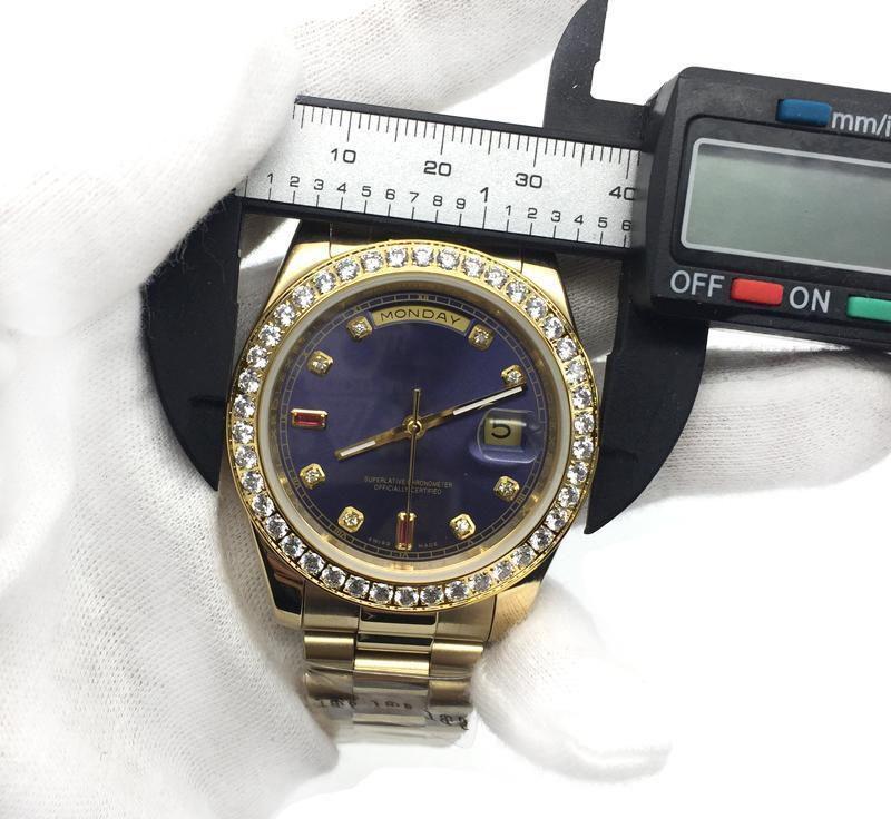 мужские часы Blue Dial 18K Gold President Sapphire Cystal Diamond Количество Мужские часы Автоматические механические Механические мужские наручные часы