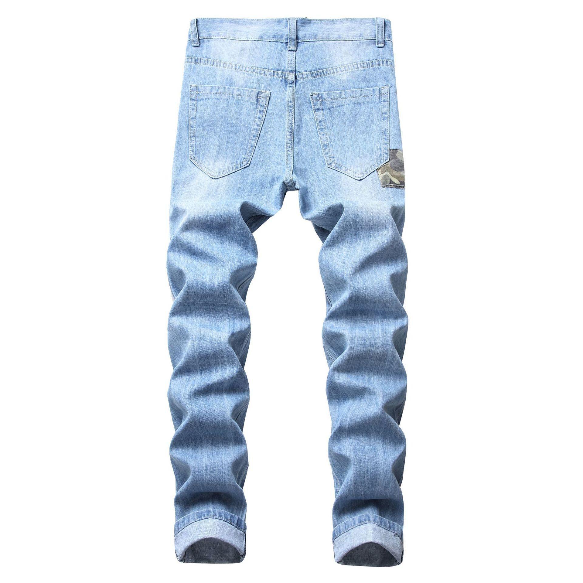 Hombres Jeans Stretch Destroyed Rasgado Diseño remiendo de la manera Vaqueros ajustados para los agujeros Hombre Slim Fit motorista de algodón de mezclilla pantalones Freeshipping