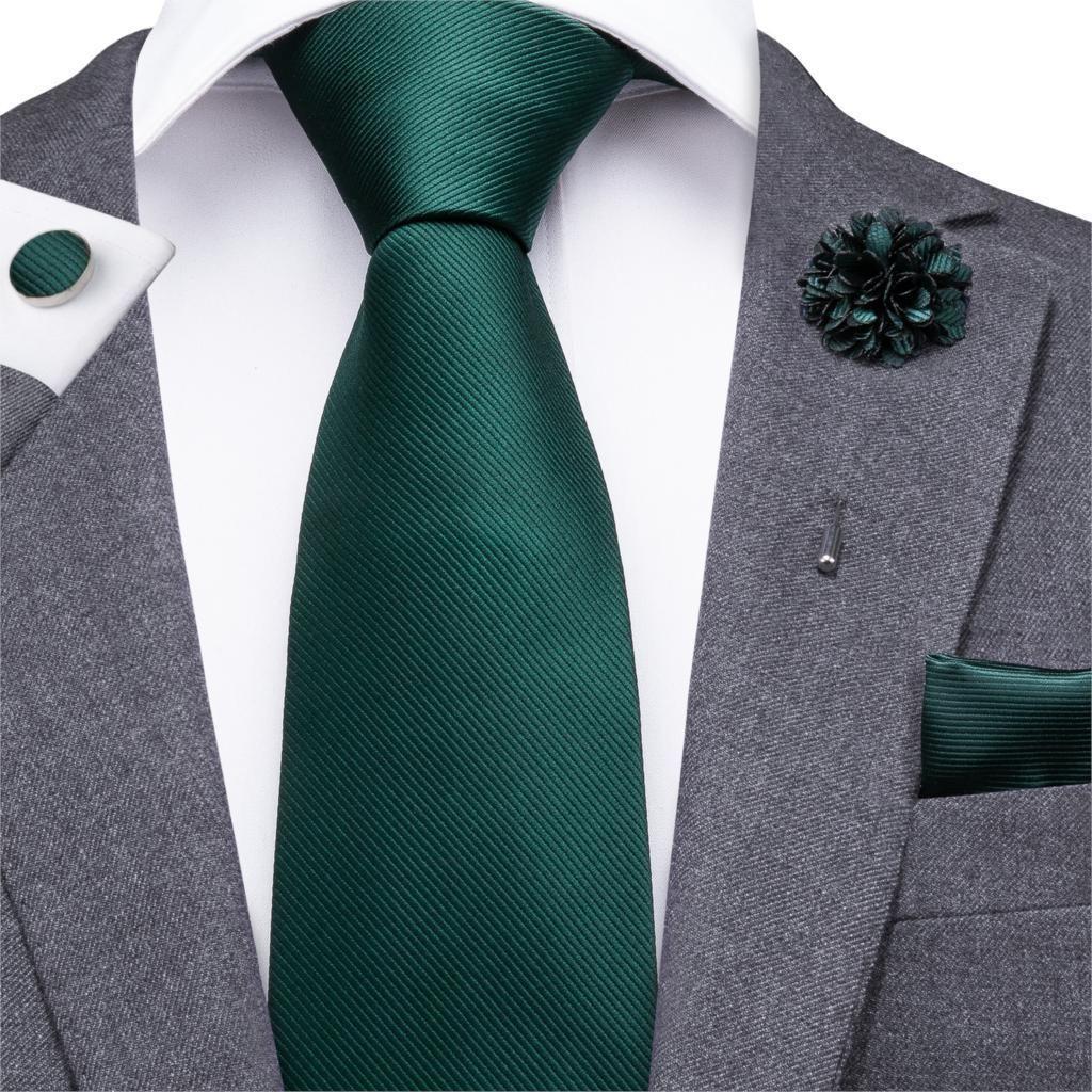 Exclusive Solid 7CM Silk mens tie handkerchief set Dark Green Plain Wedding Ties