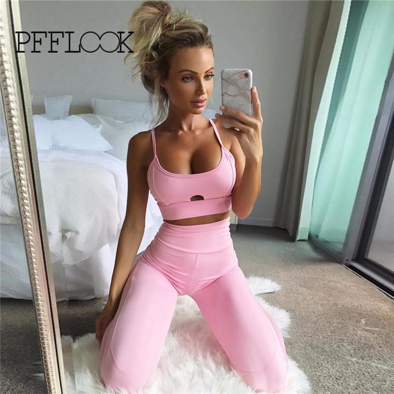 PFFLOOK Jogging Suits For Women 2017 Women Yoga Sport Body-building Suit Elastic Tight Sleeveless Solid Vest Yoga Set Tracksuit