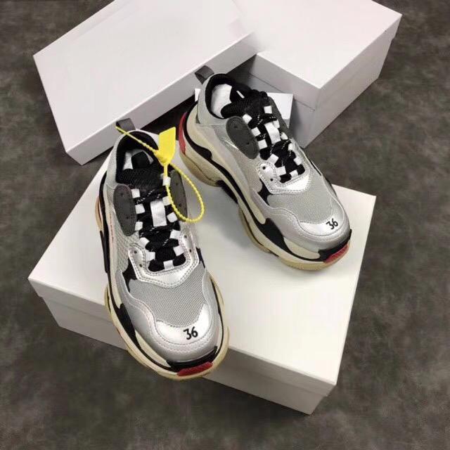 De calidad superior de lujo INS París 17FW Triple-S1 papá Zapatos Blanco Negro Rosa Triple S Combinación soles zapatillas de deporte unisex de los zapatos ocasionales 36-45 xshfbcl