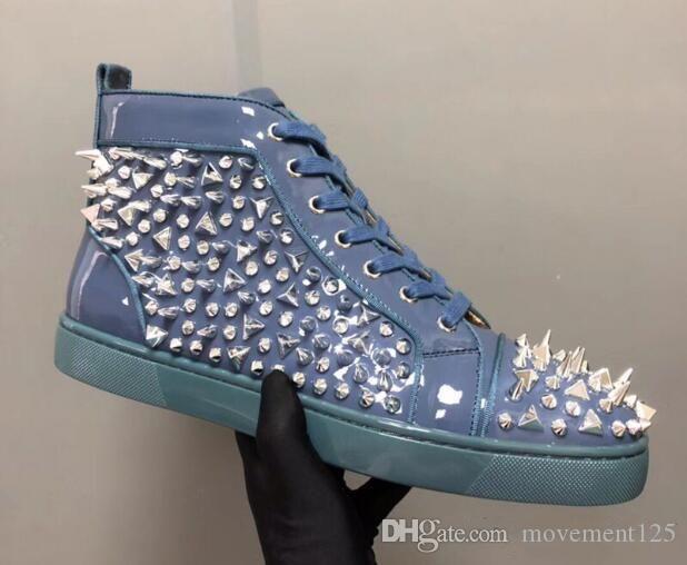 Nueva inferior rojo tachonado Spikes zapatos de los planos Hombres Mujeres Primera marca de lujo zapatillas de deporte de los amantes del cuero auténtico de los zapatos ocasionales envío
