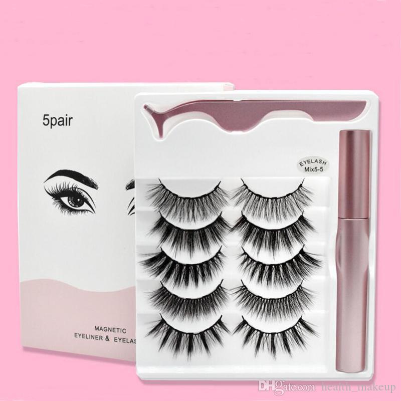 Cils magnétiques avec l'eyeliner et brucelles 5 paires 5 Faux Cils magnétique Traceur liquide de maquillage de réutilisables cil sans colle garantie