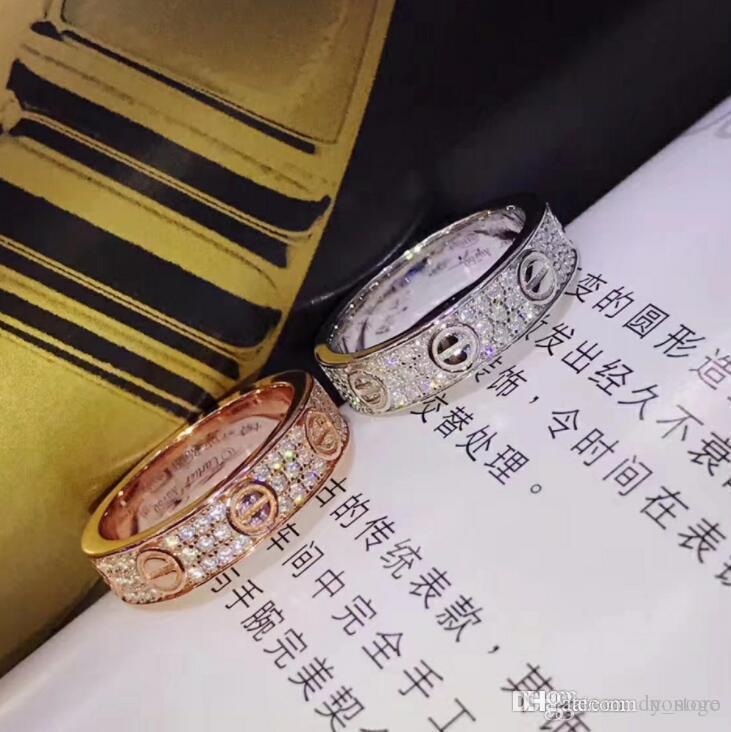 las mujeres del diseñador de la joyería de lujo de los anillos de plata pura 925 micro de diamante de alta material del embutido de carbono auténtica textura de oro rosa de oro platino