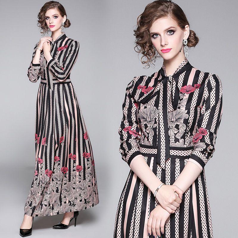 2020 Spring Runway Макси женщин платья с длинным рукавом Лук Воротник Полосатый Цветочный печати Vintage длинное платье Женский Empire Trend платье