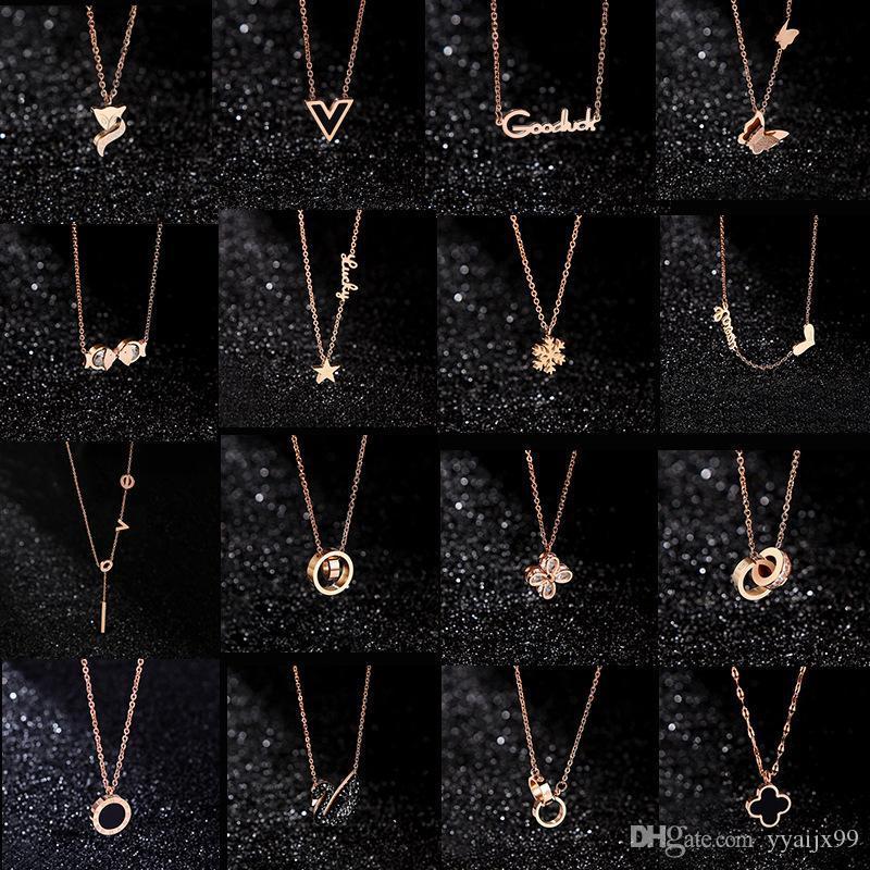 20 styles Designer Bijoux Noir Cygne Trèfle Collier 18K Or Rose Collier Platinum De Luxe Amant Femme cadeau
