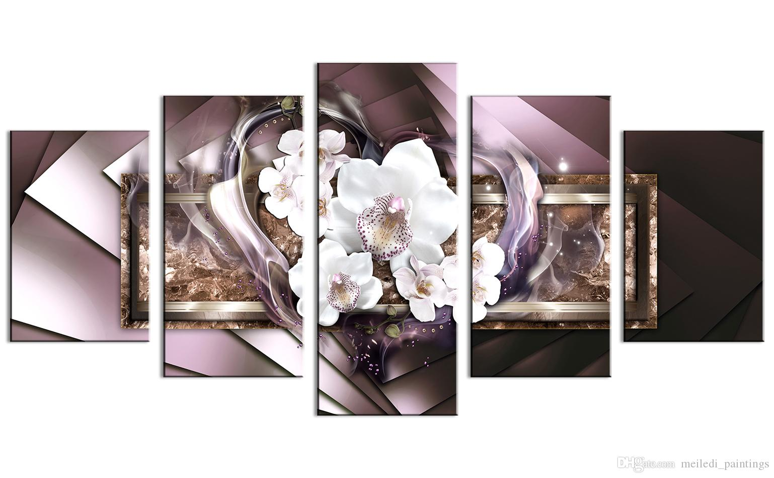 Large Mirror Crystal Canvas Art Contemporary Wall Painting Orchid Flower Decor Print Picture 5 Panel Modern White Heart Artwork