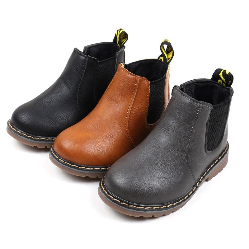 KIDS BOYS LEATHER LOOK WINTER WARM ZIPPER ANKLE BOOTS SHOES SIZE NEW HI-TOP