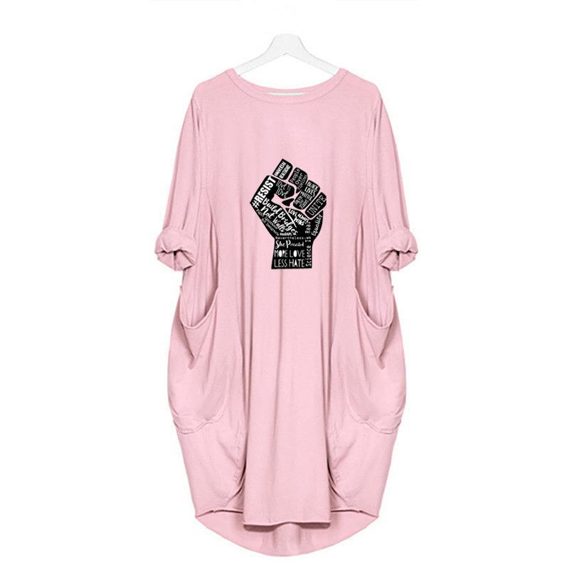 Черный Жизнь Материя Женщины Новые платья Модные Печатные Длинные платья рукава Женская мода Crew Neck Sexy Сыпучие платья