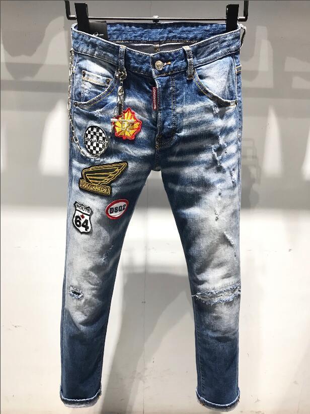 2020 hommes jeans design de luxe Pocket Designer Hommes Pantalons Mode Distrressed Washed adolescents Jeans Homme Vêtements hommes pantalons # 30