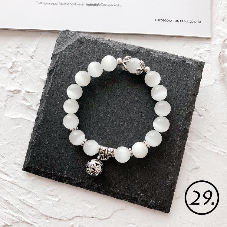 2019 weiß Naturstein Armband und Kristallperlenarmband der Frauen handgemachten Schmuck Mode dehnbar Armband mit Kasten