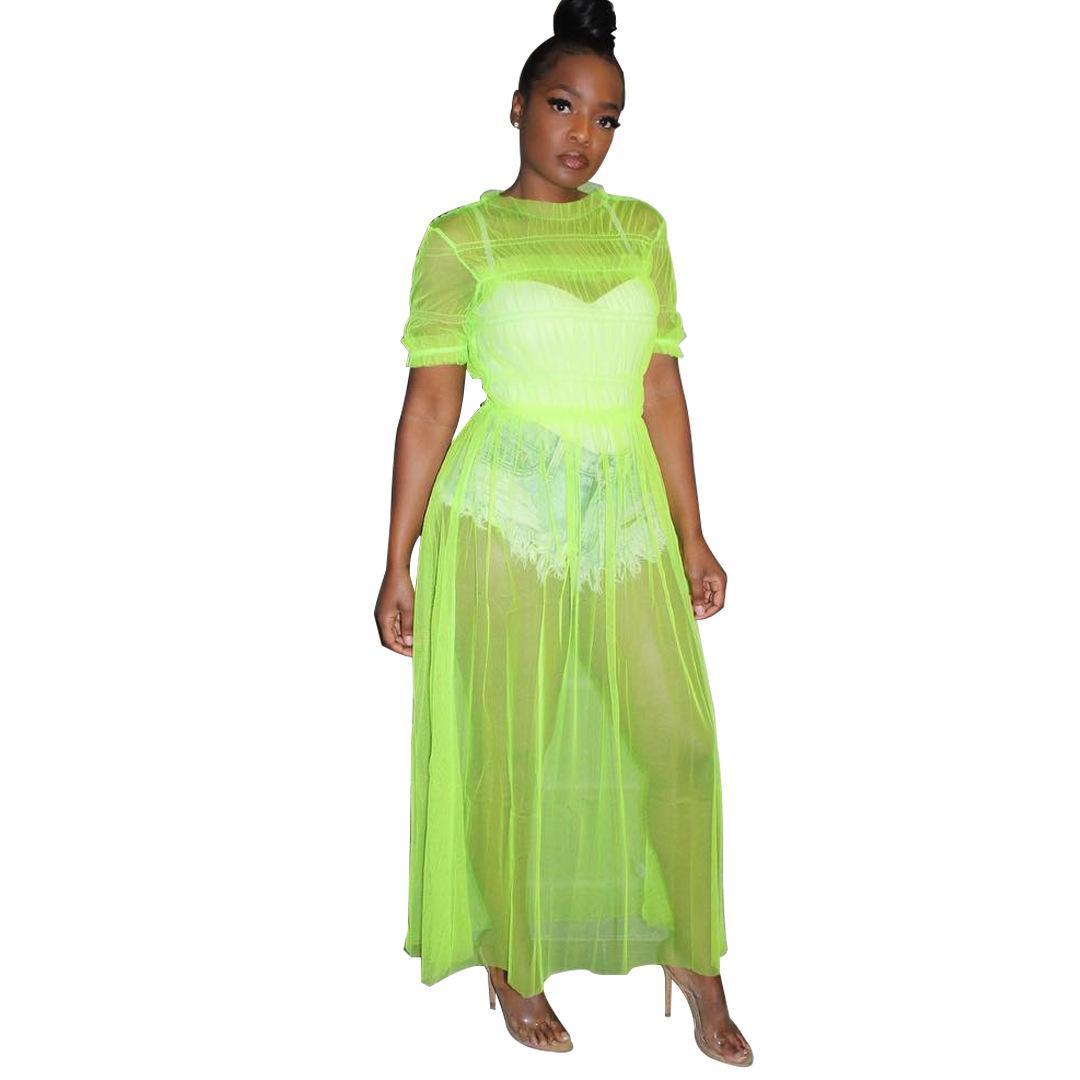 d8d61a6461 ... Women Sheer Mesh Beach Maxi Dress Short Sleeve Clubwear Outfits  Vestidos New Sexy Night Club Long
