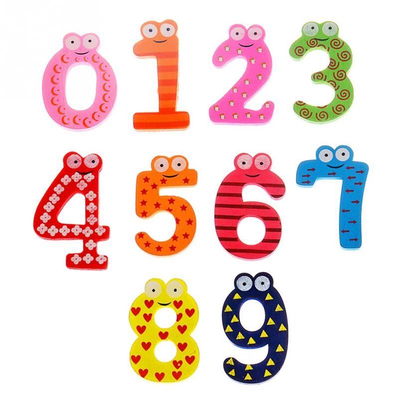 Numero del fumetto del bambino dei capretti dei bambini di legno bello Frigorifero Fridge 0-9 magneti Sticker Figura educativi Imparare regalo dei giocattoli
