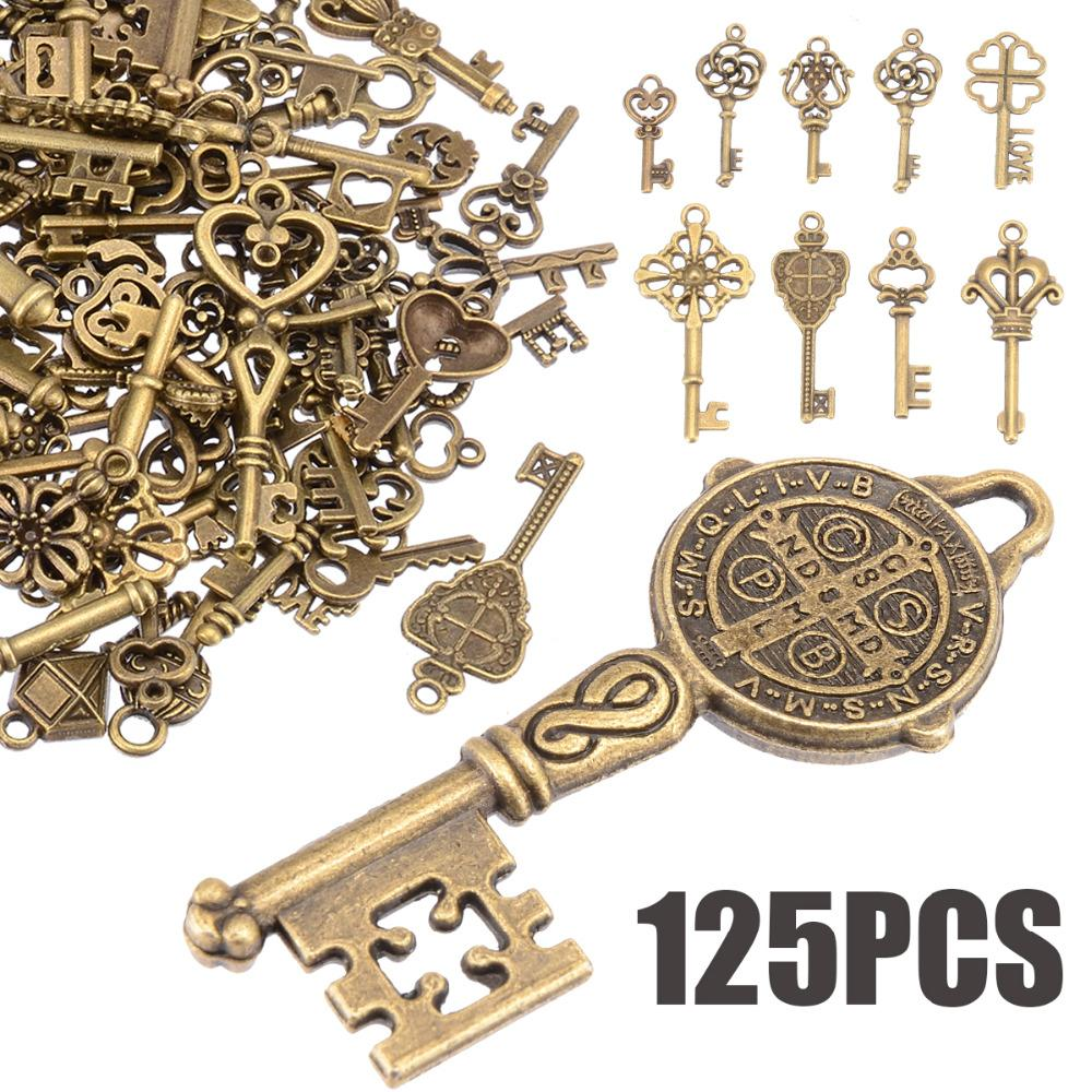 125 unids / set Creative Vintage Antique Bronze Skeleton Keys Fancy Heart Bow colgante collar colgante decoración Old Look DIY Craft Retro
