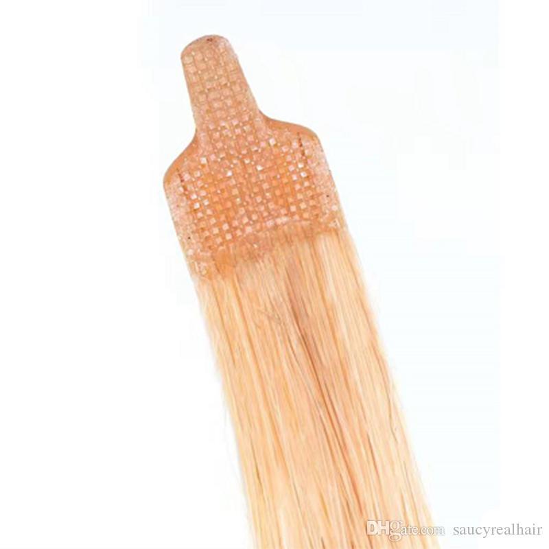 100% İnsan Saç 1G / Strand Fan İpucu Saç Uzantıları Arapsaçı Ücretsiz Atma Ücretsiz Brezilyalı Düz Yüzük Saç Uzantıları