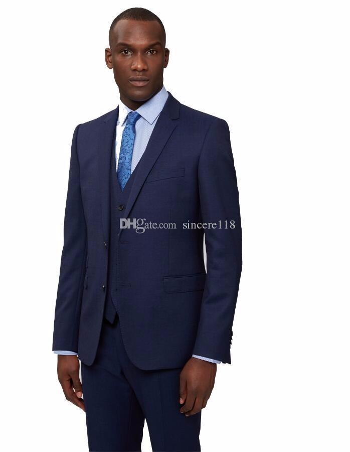 Three Piece Navy Blue Evening Party Men Suits Notch Lapel Trim Fit Custom Made Wedding Tuxedos (Jacket + Pants + Vest+Tie)W:424