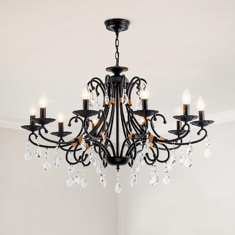 American Crystal Chandelier Lighting Luxury Living Room Home Pendant Lamp Country Retro Wrought Iron Chandelier Bedroom Black Crystal Lights