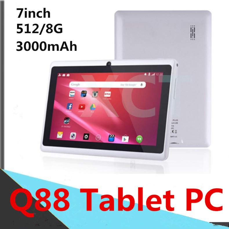 A33-Q88 7inch Tablet PC Computer Capacitance Quad Core Android Dual Camera 8GB RAM 512MB/1GB ROM WIFI Bluetooth Facebook Google In Stock DHL