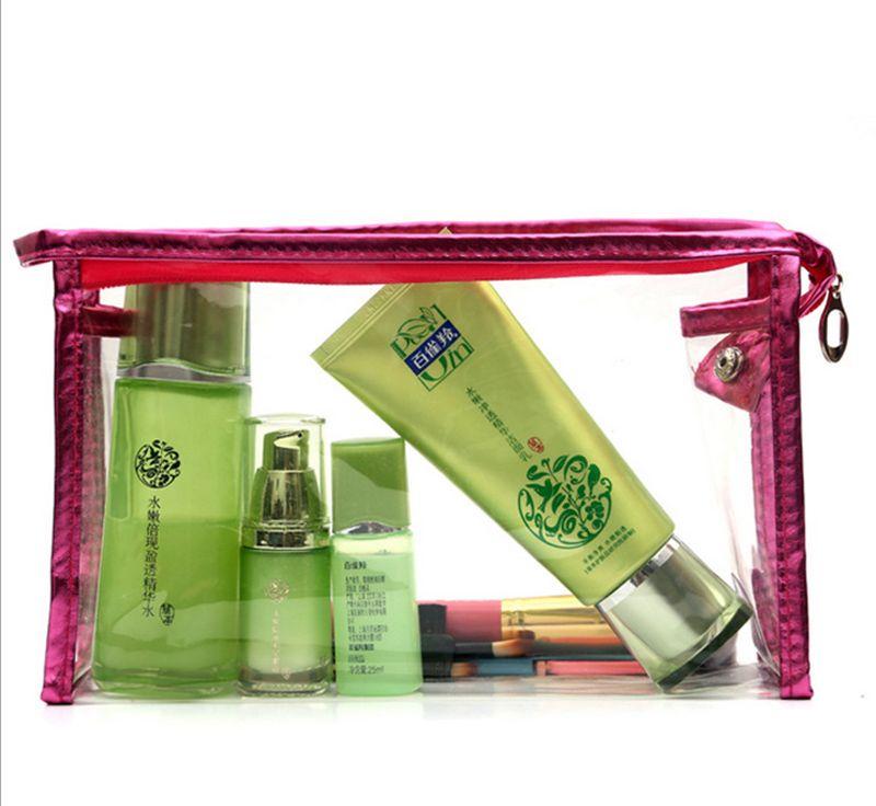 DHL 50Pcs Temizle Suya Kozmetik Çanta Günlük Şeffaf Seyahat Makyaj Çantası Tuvalet Yıkama Kılıfı Womens