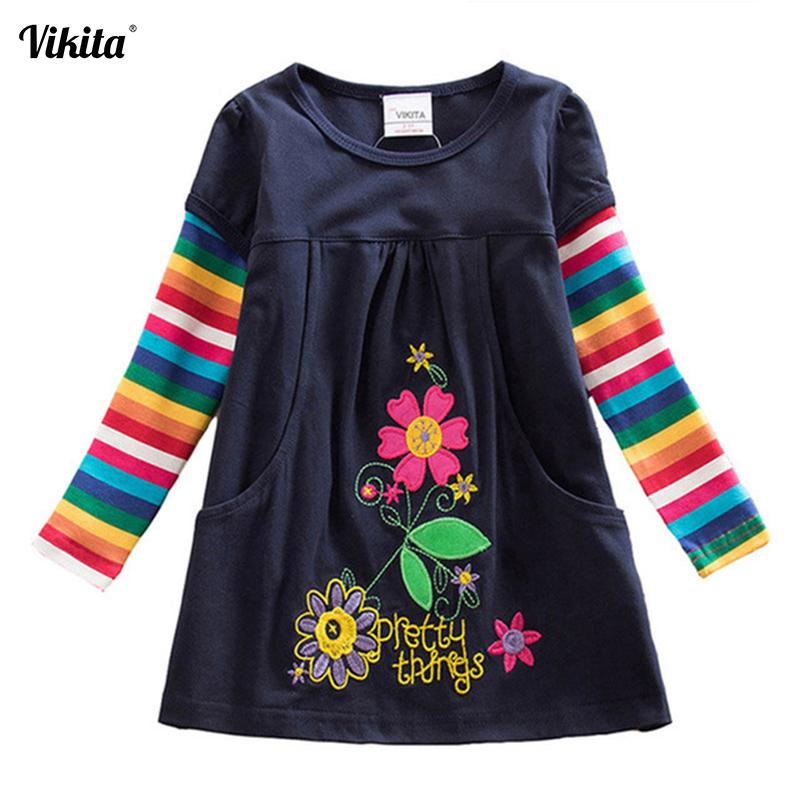 VIKITA Girl Dresses Baby Girls Dress Butterfly Rainbow Children Long Sleeve Clothes Girls Patchowrk Infant Vestidos 2-8Y LH5805