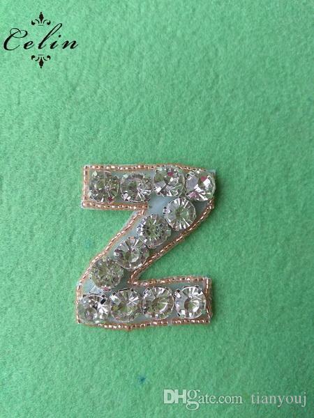 Cristal A-Z Lettres Z Or Rose Perlé avec Cristal Argent strass Applique Pour la fête