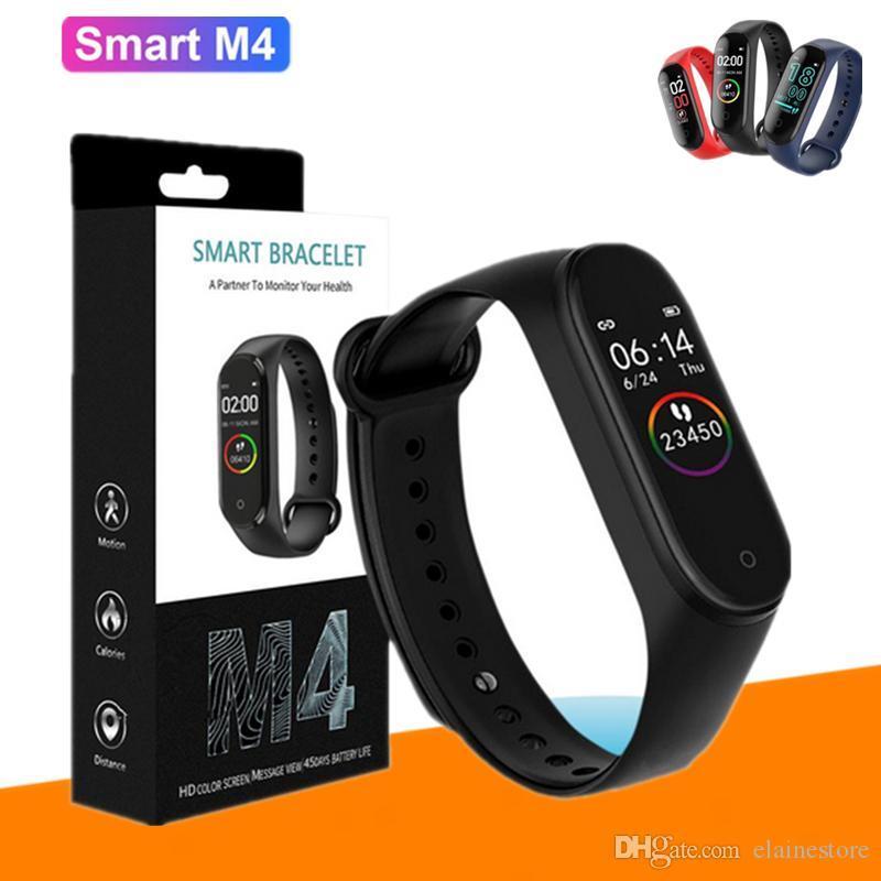 سوار M4 الذكية فرقة للياقة البدنية المقتفي ووتش الرياضة ووتش معدل ضربات القلب الذكية 0.96 بوصة Smartband مراقب الصحة الاسورة IP67 للماء