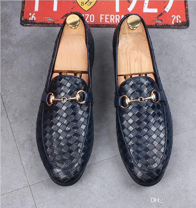 Comodi e traspiranti italiani mocassini neri di lusso tessono appartamenti mens casual scarpe da ballo di partito slip on mens scarpe da sposa H182