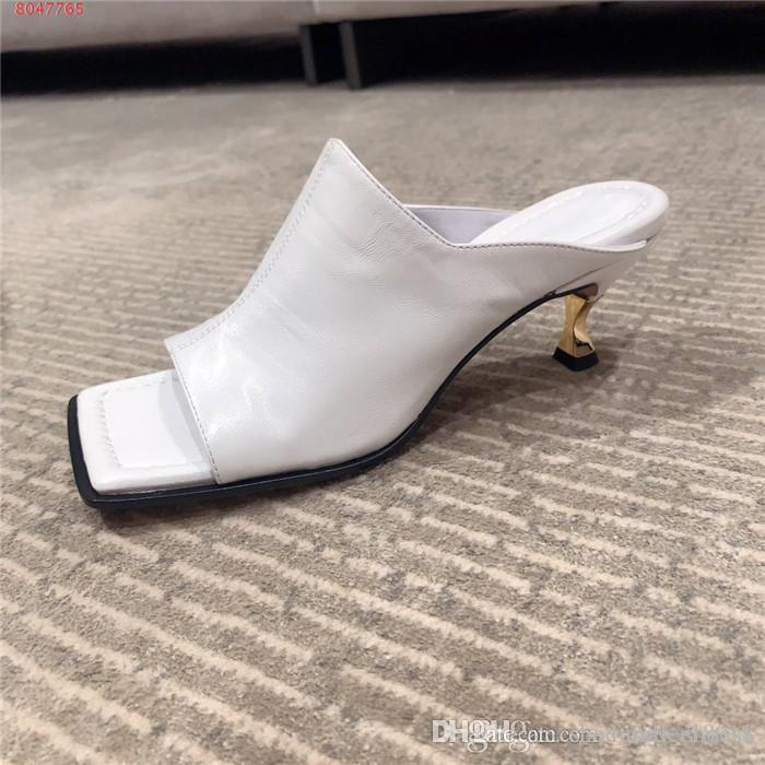 sandali L'inizio della primavera di metallo quadrato a spillo donne giallo rosso bianco nero a metà tacco sandali in pelle altezza tacco 6,5 cm con la scatola formato 35-40