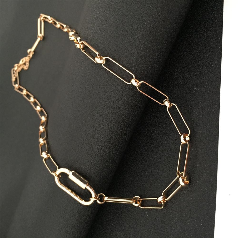 Новый Модный Золотой Цвет Покрытия Специальный Цепной Клип Кулон Связанный Длинное Ожерелье Для Женщин Девушка Свитер Носить