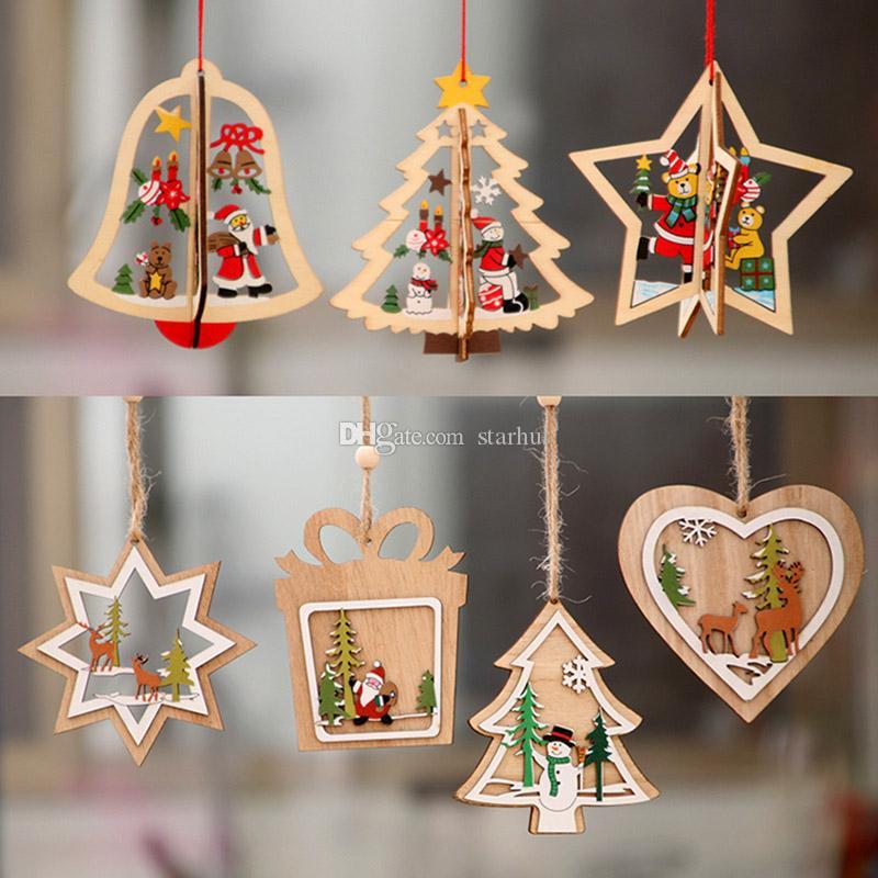 عيد الميلاد الحلي منحوتة خشبية شجرة عيد الميلاد نافذة الحلي عيد الميلاد قلادة للجرس ندفة الثلج ثلج الأيائل WX9-1098