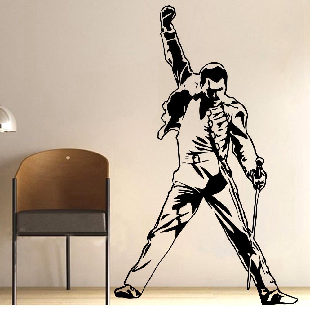 Vintage Freddie Mercury Queen-Band Mur Decal Musique rock Garçons Chambre Salon Vinyle Autocollants amovible Chambre Décoration